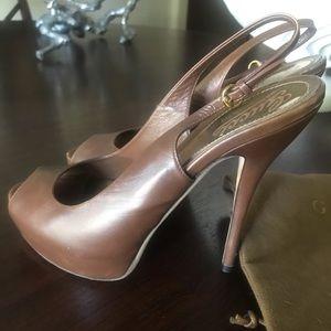 GUCCI brown leather platform sandals